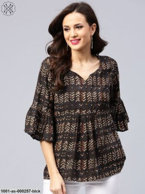 Black Printed Ruffle Sleeve Tunic