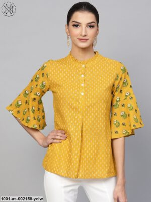 Yellow & White Printed Tunic With Flared Sleeve