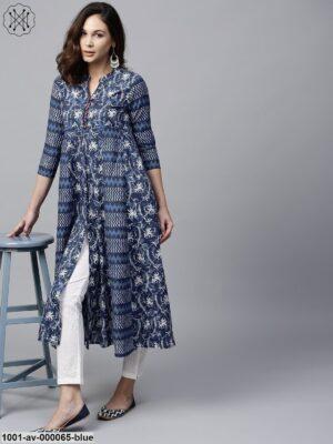Blue & White Floral Printed Front Slit Open Jacket