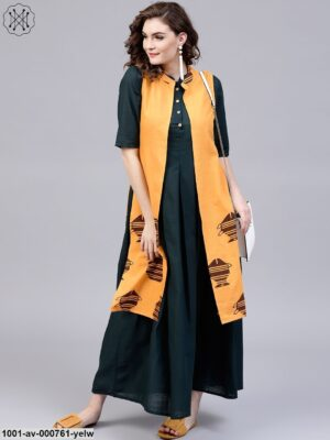 Yellow & Brown Printed Sleeveless Jacket