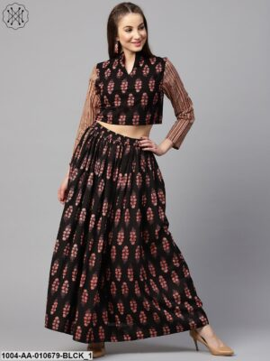 Black Printed 3/4Th Sleeve Blouse With Black Printed Flared Skirt