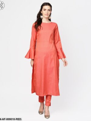 Red Full Sleeve Cotton Kurta With Pant