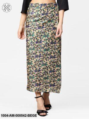 Beige Printed Midi Cotton Straight Skirt