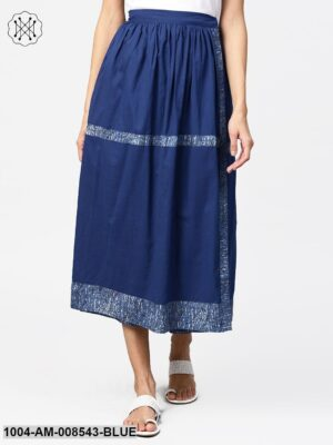 Blue Midi Length Cotton Flared Skirt