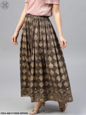 Mud Brown Printed Flared Ankle Length Skirt