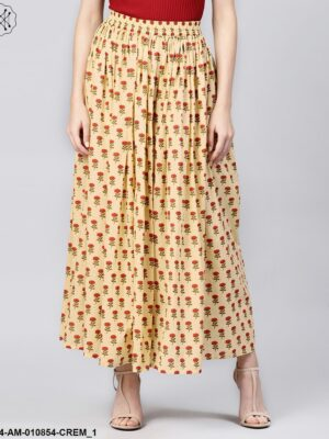 Women Cream-Coloured & Red Printed Maxi Flared Skirt
