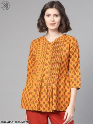 Women Mustard & Red A-Line Printed Top