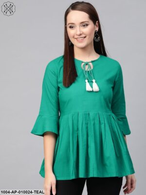 Women Teal Solid Tie-Up Neck Peplum Top