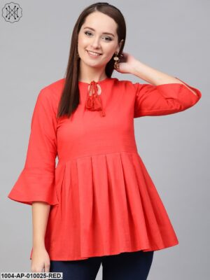Women Red Solid Tie-Up Neck Peplum Top