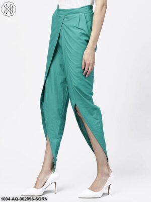 Solid Aqua Ankle Length Cotton Tulip Pant