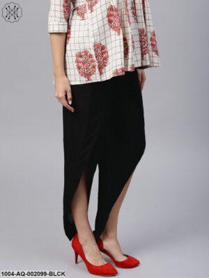Black Ankle Length Cotton Tulip Pant