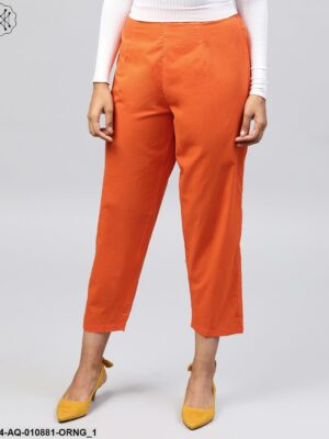 Solid Orange Ankle Length Cotton Regular Fit Trouser