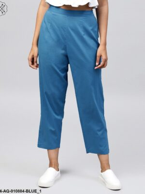 Solid Blue Ankle Length Cotton Regular Fit Trouser