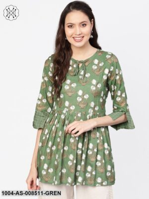 Green & White Floral Printed Tunic With Round Neck And Dori Detailing
