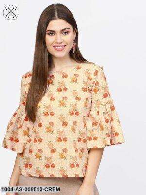 Cream And Multi Printed Flared Sleeve Cotton Tunic