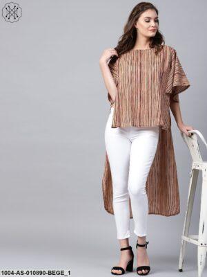 Beige Striped Half Sleeve Low High Cotton Tunics