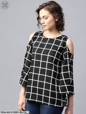 Black Checked 3/4Th Sleeve Cold Shoulder Crepe Tunic