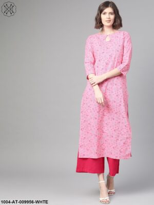 Adults-Women Pink & White Cotton Straight Floral Printed Kurta