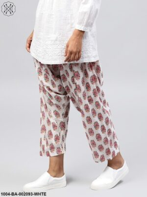 White Printed Ankle Length Cotton Salwar