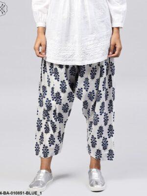 Blue Printed Ankle Length Cotton Salwar
