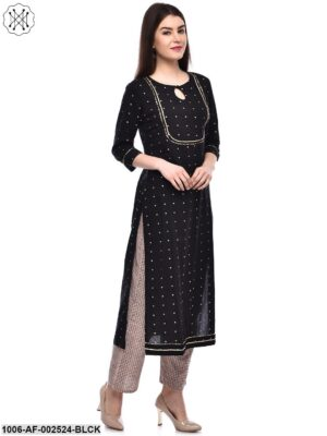 Black Gold Printed Straight Kurta With Pant