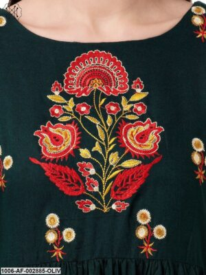 Women's A-Line Embroidered Rayon Kurta