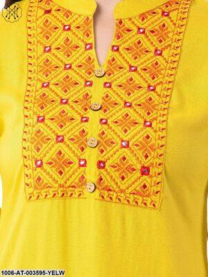 Women's Rayon Embroidered Straight Kurta