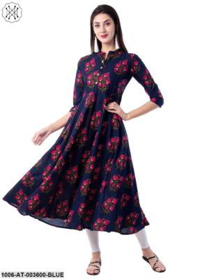 Women's Cotton Printed Flared Kurta