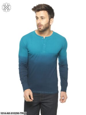 Turquoise Ombre Dyeing  Regular Collar T-Shirt