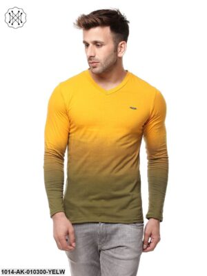 Yellow Ombre Dyeing  Regular Collar T-Shirt