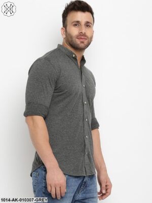 Anthramelange Solid Chinese Collar Shirt