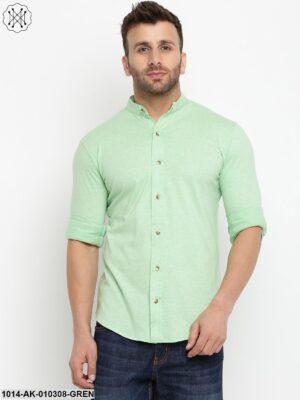 Light Green Solid Chinese Collar Shirt