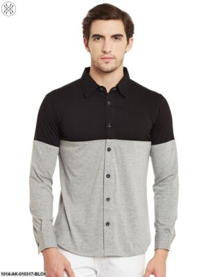 Black/Grey Melange Solid Regular Collar Shirt