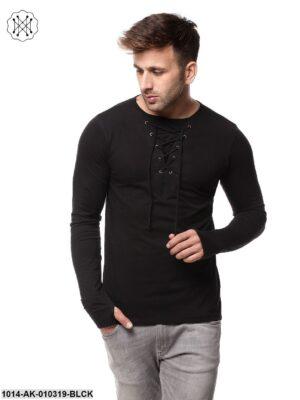 Black Solid Round Neck T-Shirt