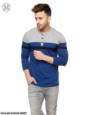 Grey Melange/Indigo Solid Round Neck T-Shirt
