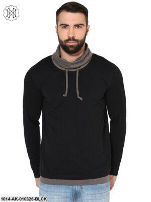 Black/ Steel Grey  Solid Round Neck T-Shirt
