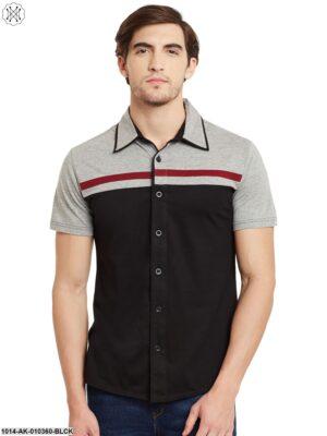 Blac/Grey Melange Solid Regular Collar Shirt
