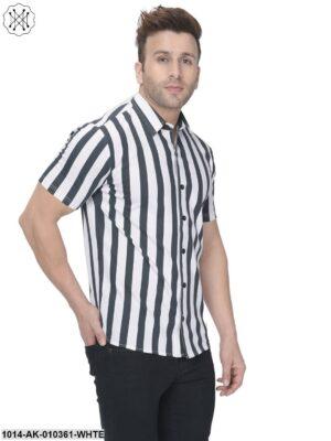 White/Black Printed Regular Collar Shirt