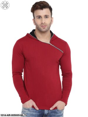 Multicolored Solid Full Sleeves Hooded T-shirt for Men