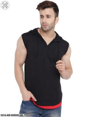 Multicolored Solid Sleeveless Hooded T-shirt for Men