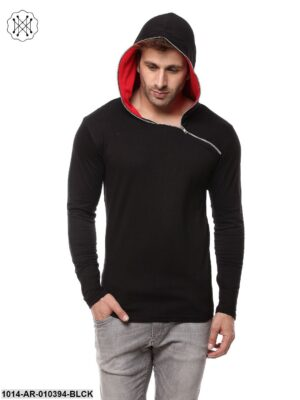 Black/Red Solid Hooded T-Shirt