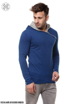 Indigo/Grey Melange Solid Hooded T-Shirt