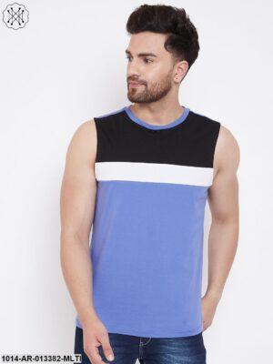 Blue/White/Black Color Block Men's Full Sleeves Round Neck T-Shirt