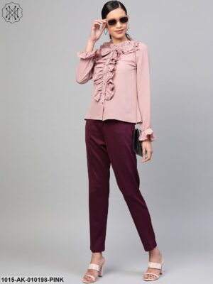 Baked Pink Cascading Ruffled Shirt