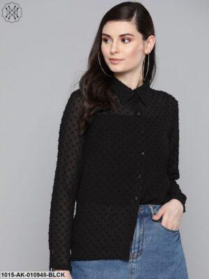 Black Dobby Sheer Boxy Shirt
