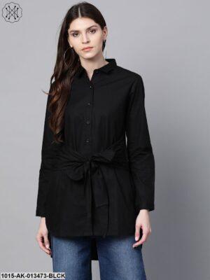 Black Front Tie Longline Shirt