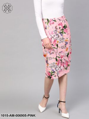 Pink Old Floral Silk Pencil Skirt