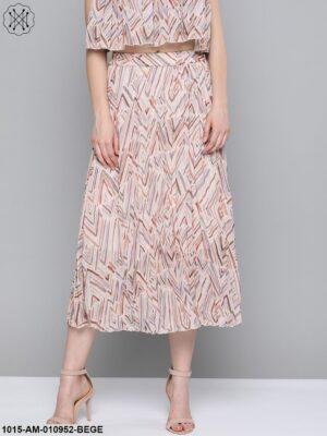 Beige Geometric Print Pleated Longline Skirt