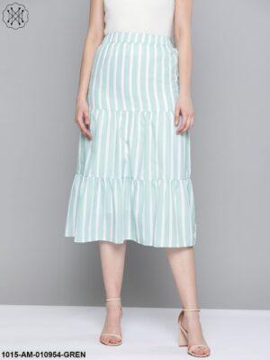 Sea Green Stripe Tiered Skirt
