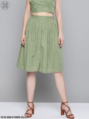 Olive Schiffli Buttoned Skirt